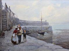 JOHN WHITE (1851-1933) CLOVELLY PIER Signed, watercolour and bodycolour 25 x 34.5cm. ++ Slight