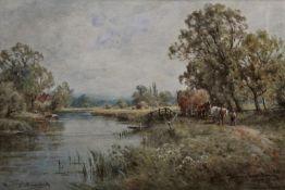 HENRY JOHN KINNAIRD (1861-1929) THAMES NEAR GORING; VIEW NEAR SALISBURY A pair, both signed and
