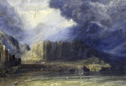 ANDREW NICHOLL, RHA (1804-1886) EAST VIEW OF THE GIANT'S CAUSEWAY Signed, inscribed with (or bears