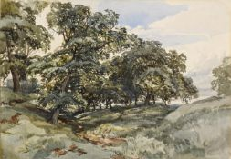 JOHN MIDDLETON (1827-1856) A WOODED LANDSCAPE Dated July -3/ 55, watercolour and pencil heightened