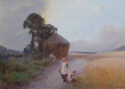 JOHN WHITE (1851-1933) OLD AND YOUNG, HEAVITREE Signed, watercolour and bodycolour 25 x 35cm. ++ A