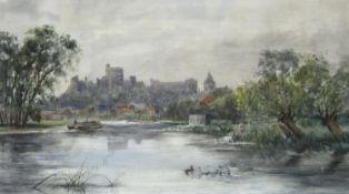 CIRCLE OF HENRY CHARLES FOX (1860-1925) A VIEW OF WINDSOR FROM THE THAMES Watercolour, heightened