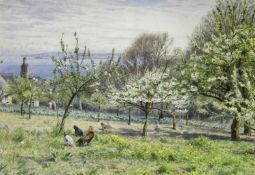 WILLIAM FOSTER (1853-1924) AN ORCHARD IN SPRINGTIME; A WALK HOME THROUGH THE WOODS Two, both signed,