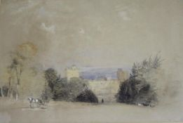 HENRY BRIGHT (1810-1873) NAWORTH CASTLE Inscribed with title lower right, watercolour and pencil