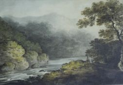 FRANZ JOSEPH MANSKIRCH (1770-1827) A RIVER VIEW, POSSIBLY ON THE WYE, WITH TWO FIGURES Watercolour