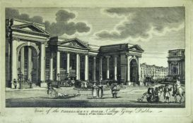 WILLIAM ALLEN (Fl.1778-1829) DUBLIN: VIEW OF THE PARLIAMENT HOUSE, COLLEGE GREEN; BLUE COAT