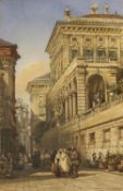 WILLIAM WYLD (1806-1889) STREET SCENE IN VERONA Signed, watercolour and pencil 34 x 22cm. ++ Some