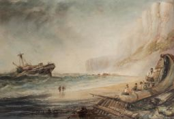 HENRY BARLOW CARTER (1804-1868) FLAMBOROUGH CLIFFS Watercolour with scratching out 30 x 44.5cm. ++