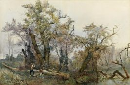 ETTORE ROESLER FRANZ (1845-1907) WOODCUTTERS, ITALY Signed and inscribed Roma, watercolour 63.5 x