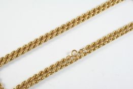 A 9CT GOLD ROPE LINK NECKLACE 79cm long, 20 grams