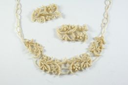 A VICTORIAN CASED SEED PEARL NECKLACE of foliate form, 46cm long, with some damage