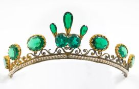 A PASTE SET TIARA mounted with green paste stones in gilt metal, the centre 4.5cm high