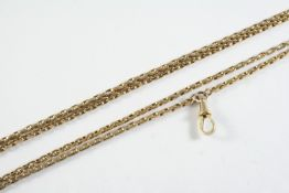 A 9CT GOLD OVAL LINK WATCH CHAIN 117cm long, 21.2 grams