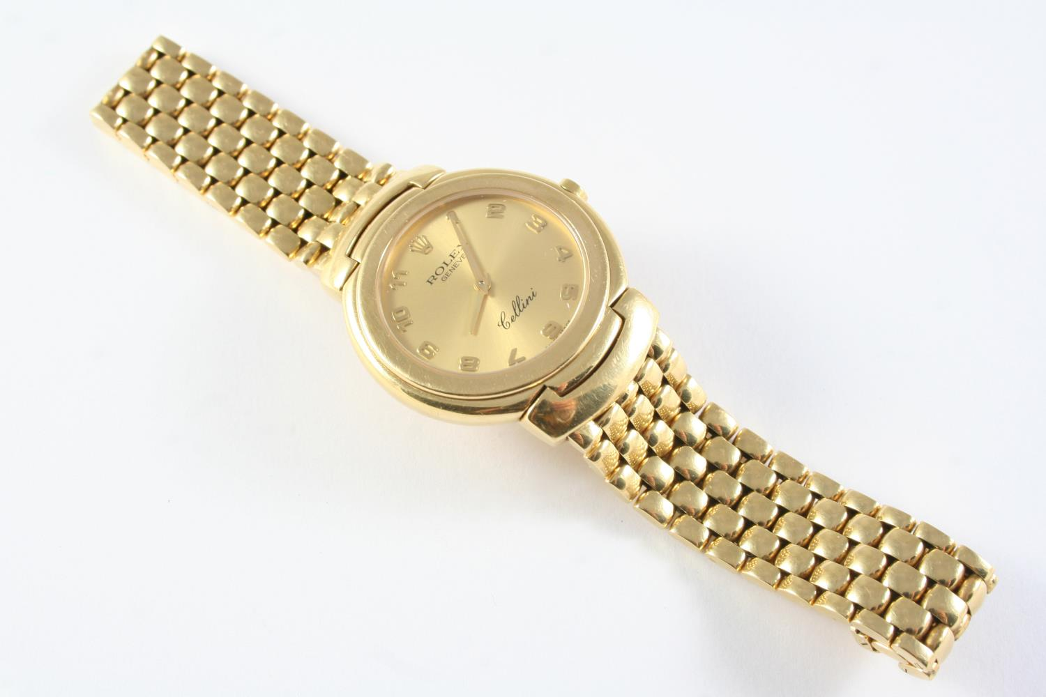 A GENTLEMAN'S 18CT GOLD WRISTWATCH BY CELLINI ROLEX the signed gold coloured dial with Arabic