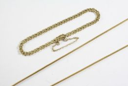 A 14CT GOLD SNAKE LINK CHAIN NECKLACE 57cm long, 9.1 grams, together with a 9ct gold flat curb