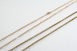 A GOLD CIRCULAR LINK CHAIN NECKLACE 48cm long, 7.7 grams, together with a 15ct gold oval link