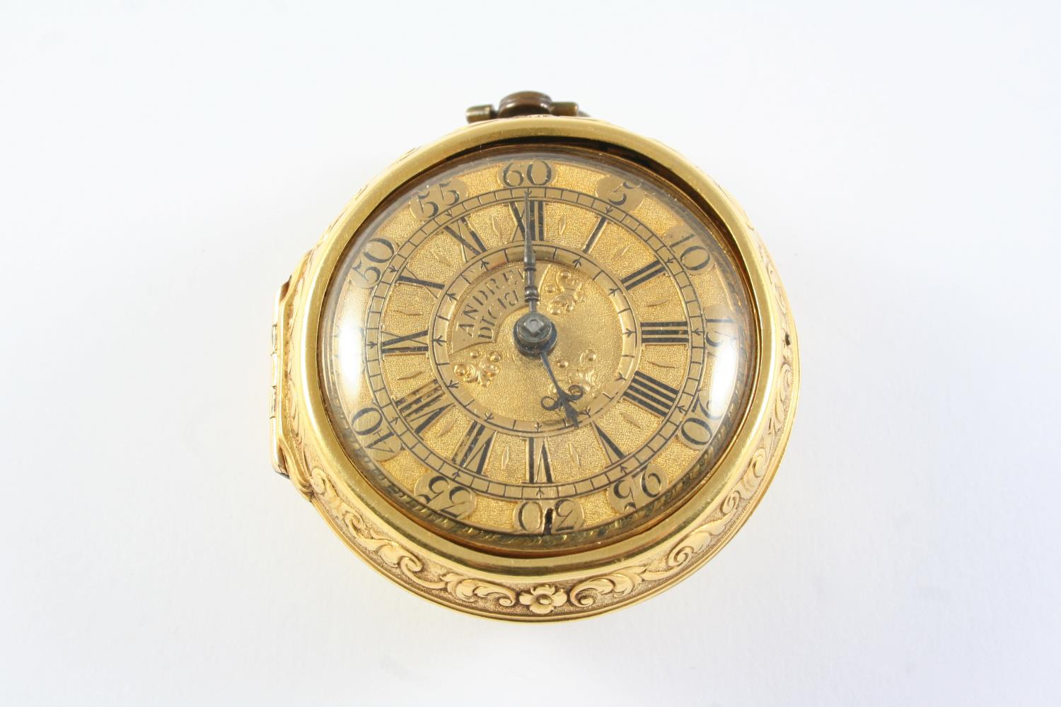 AN 18TH CENTURY GOLD PAIR CASED POCKET WATCH BY ANDREW DICKIE the signed gold dial with Roman