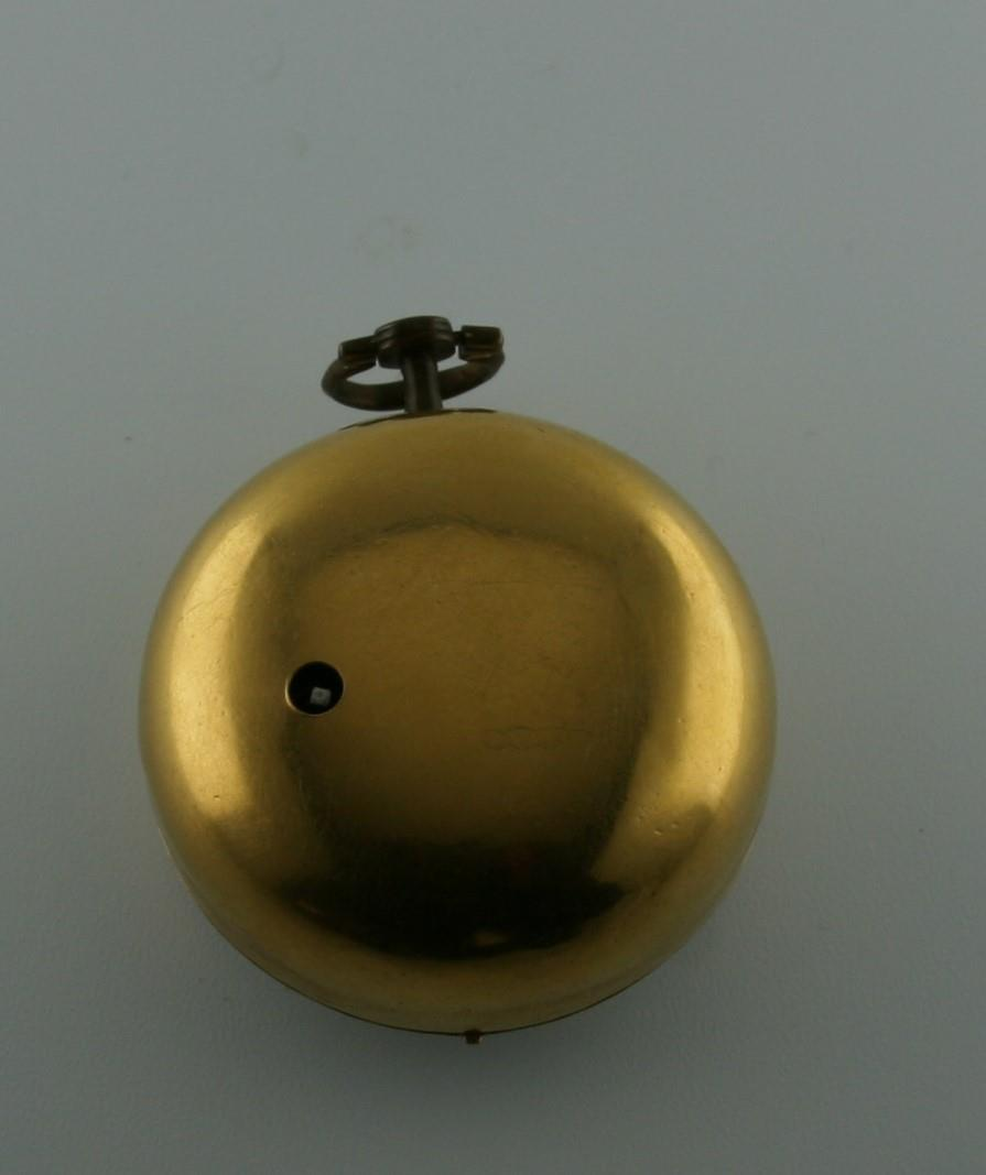 AN 18TH CENTURY GOLD PAIR CASED POCKET WATCH BY ANDREW DICKIE the signed gold dial with Roman - Image 6 of 6