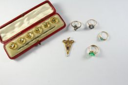 A QUANTITY OF JEWELLERY including a cased set of citrine and opal dress buttons, a sapphire and