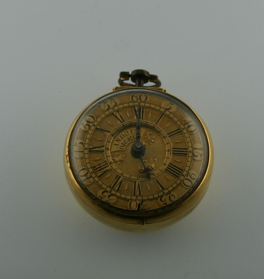 AN 18TH CENTURY GOLD PAIR CASED POCKET WATCH BY ANDREW DICKIE the signed gold dial with Roman - Image 5 of 6