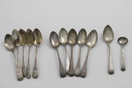 A SET OF FIVE WILLIAM IV OLD ENGLISH PATTERN TEA SPOONS by S. Hayne & D. Cater, London 1836, a set