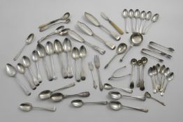 A MIXED LOT OF ASSORTED SPOONS, FLATWARE & CUTLERY TO INCLUDE:- Five dessert spoons, thirty tea