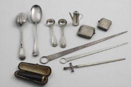 A MIXED LOT:- Two engine-turned vesta cases, a paper knife with a cruciform terminal, a gold-mounted