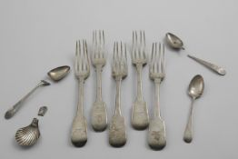 A MIXED LOT:- Five George III Fiddle pattern table forks, crested, together with a George III