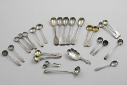 A QUANTITY OF ASSORTED CONDIMENT AND OTHER SMALL SPOONS TO INCLUDE:- A set of five George IV