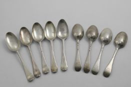 A SET OF NINE GEORGE II HANOVERIAN PATTERN DESSERT SPOONS crested, by George Morris, London 1740-