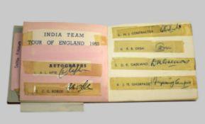 CRICKET AUTOGRAPH ALBUM - INDIA & WEST INDIES an interesting album including signatures of the