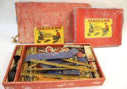 MECCANO BOXED SET a boxed set Meccano No 9, with 2 layers with various accessories, box and items in