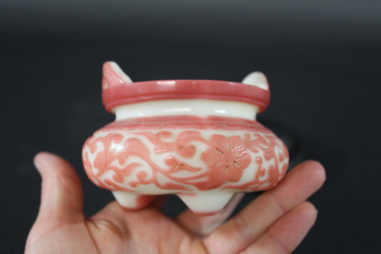 RARE BEIJING PINK OVERLAID WHITE GLASS TRIPOD CENSER Qing Dynasty, Qianlong period, the rounded body - Image 10 of 44