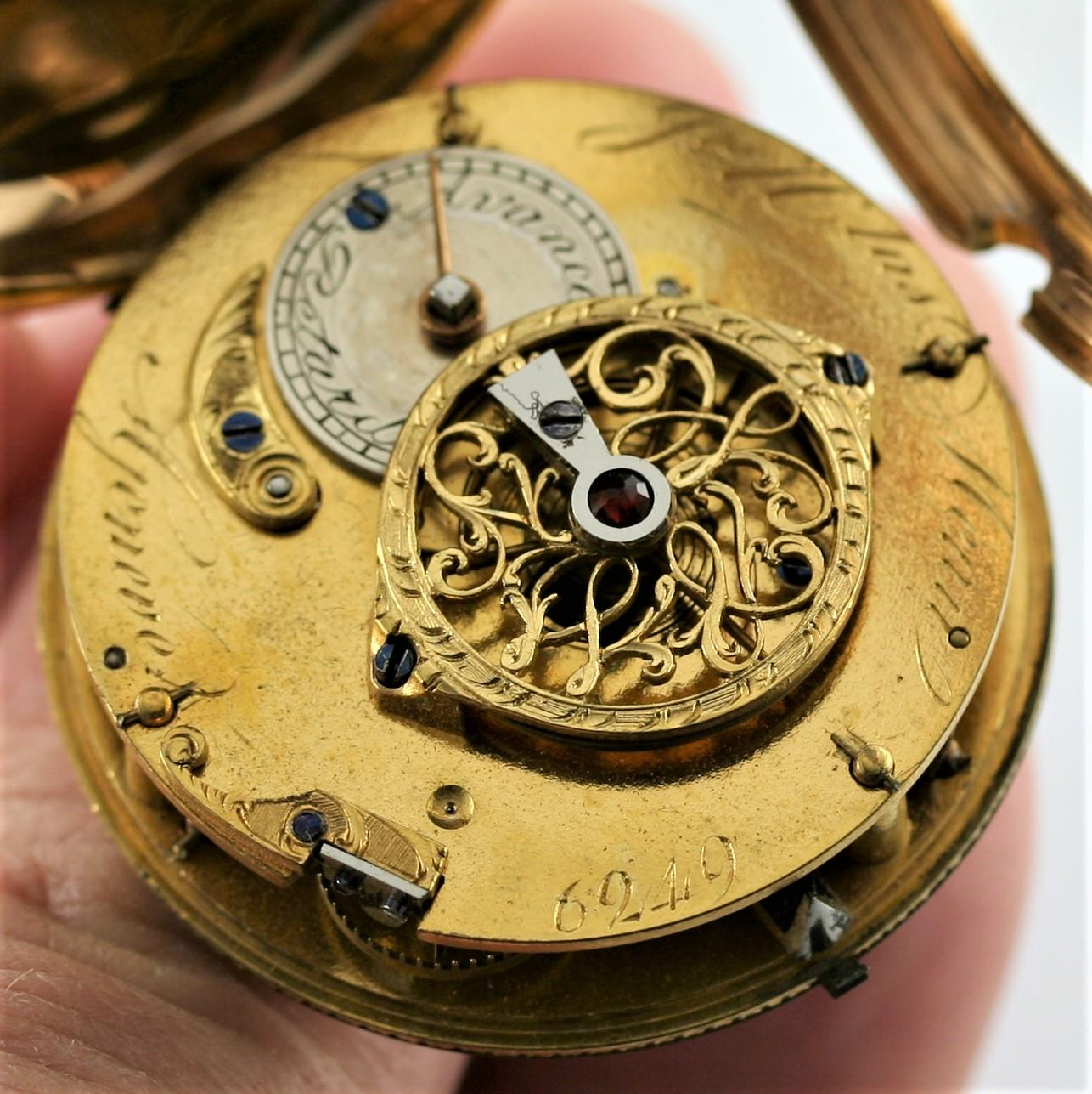 A SWISS LATE 18TH CENTURY PAIR CASED POCKET WATCH BY JEAN NICOLAS MENU the signed white enamel - Image 6 of 10