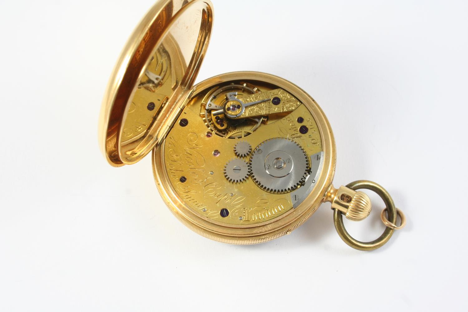 AN EARLY KEYLESS 18CT GOLD OPEN FACED POCKET WATCH BY NICOLE & CAPT, 14 SOHO SQ., LONDON the - Image 2 of 6