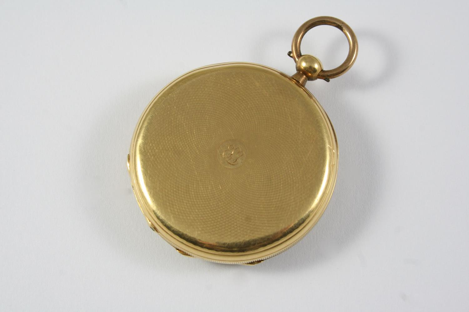 A GOLD OPEN FACED POCKET WATCH the gold foliate engraved dial with Roman numerals, engraved to the - Image 3 of 4