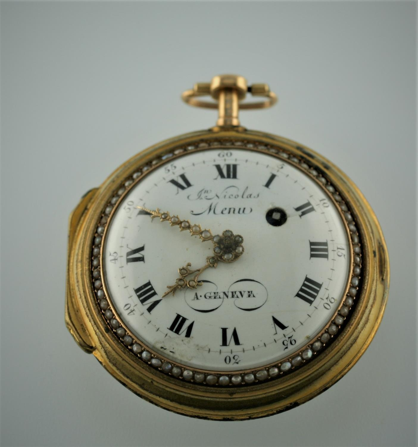 A SWISS LATE 18TH CENTURY PAIR CASED POCKET WATCH BY JEAN NICOLAS MENU the signed white enamel - Image 9 of 10
