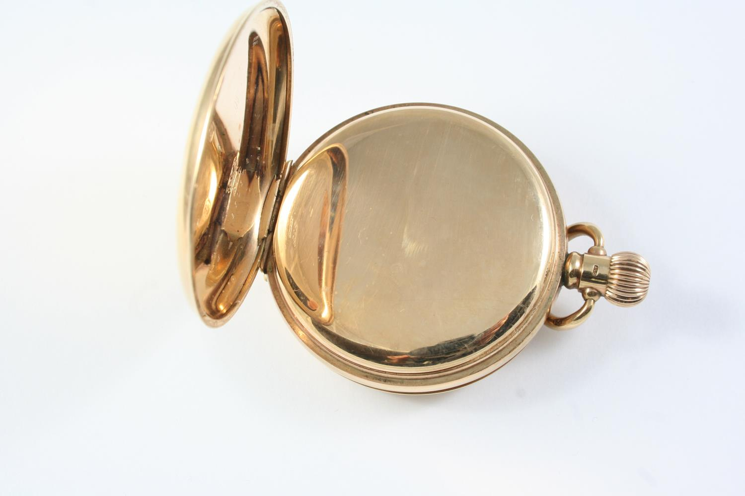 A 9CT GOLD HALF HUNTING CASED POCKET WATCH the white enamel dial with Roman numerals and - Image 3 of 5