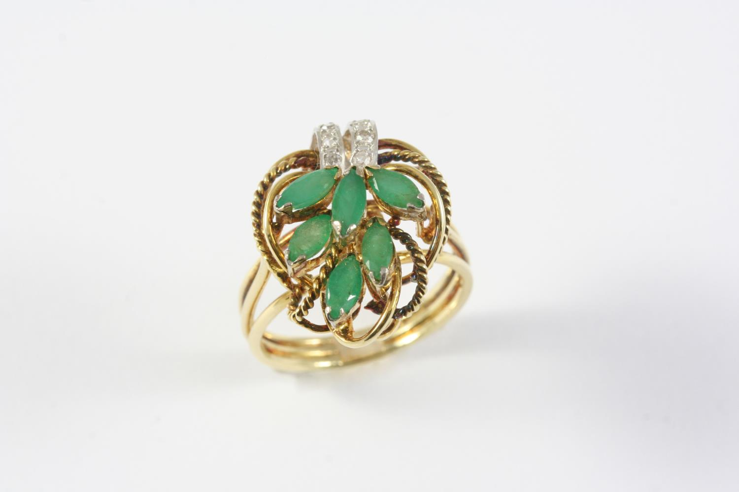 A CHRYSOPRASE AND DIAMOND RING mounted with marquise-cut chrysoprase and circular-cut diamonds in