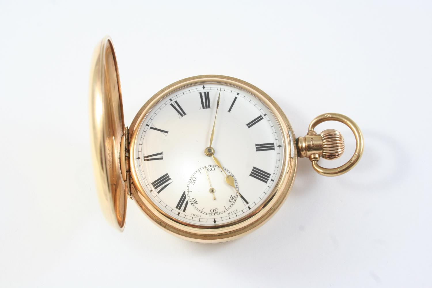 A 9CT GOLD HALF HUNTING CASED POCKET WATCH the white enamel dial with Roman numerals and