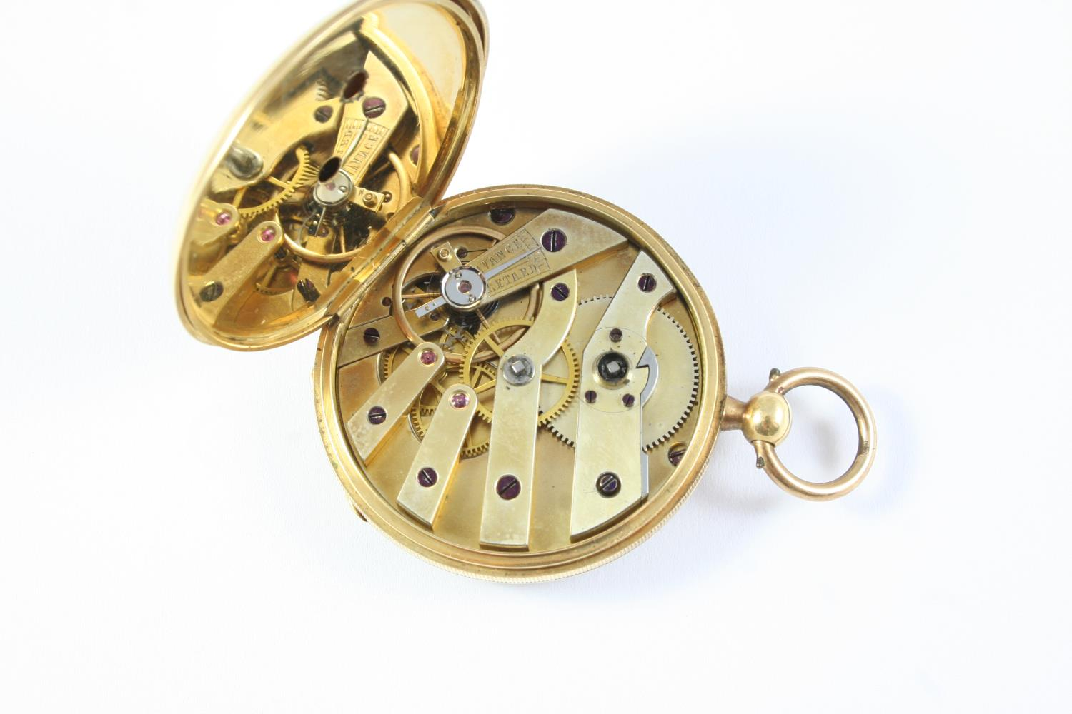 A GOLD OPEN FACED POCKET WATCH the gold foliate engraved dial with Roman numerals, engraved to the - Image 4 of 4