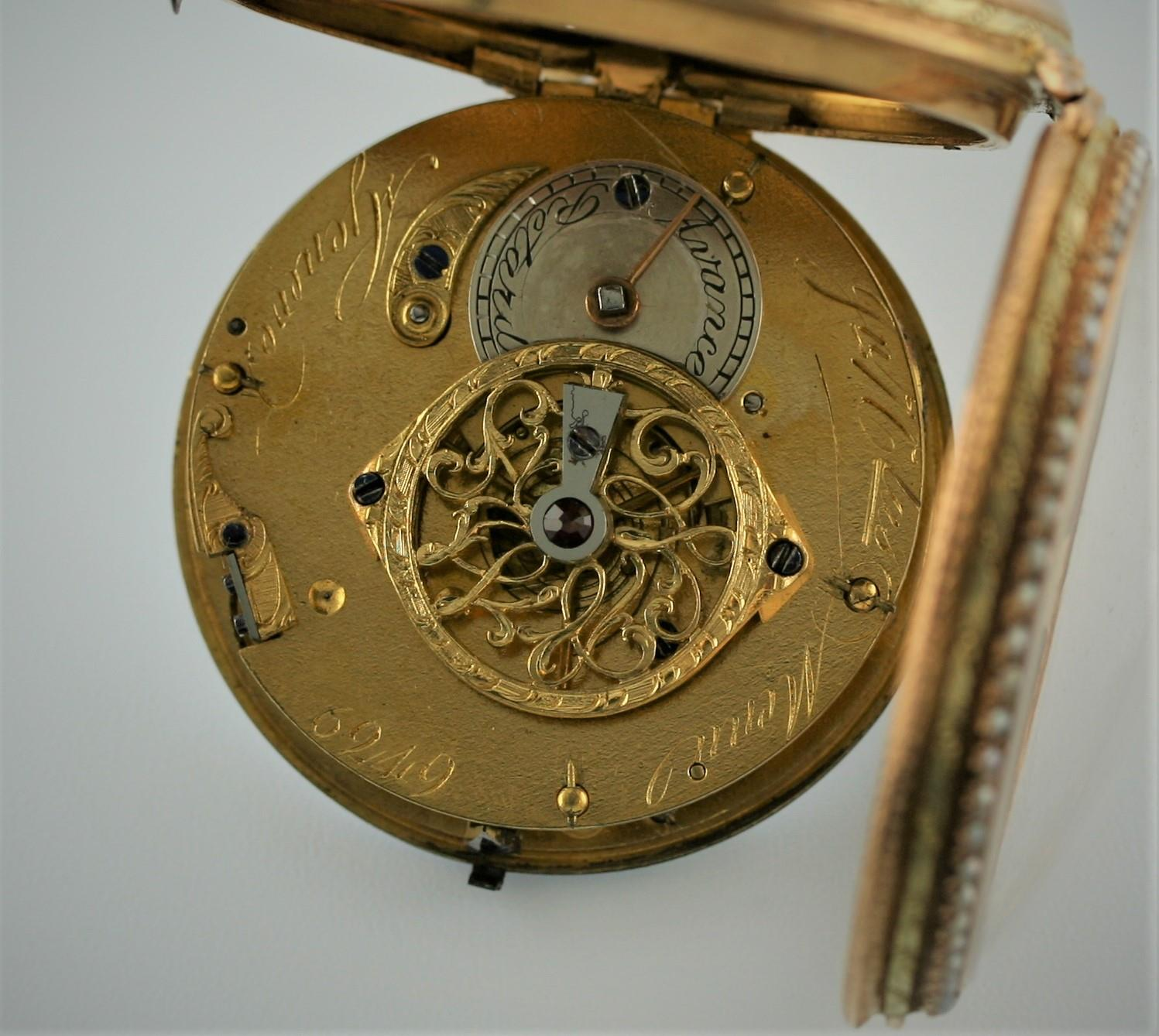 A SWISS LATE 18TH CENTURY PAIR CASED POCKET WATCH BY JEAN NICOLAS MENU the signed white enamel - Image 5 of 10