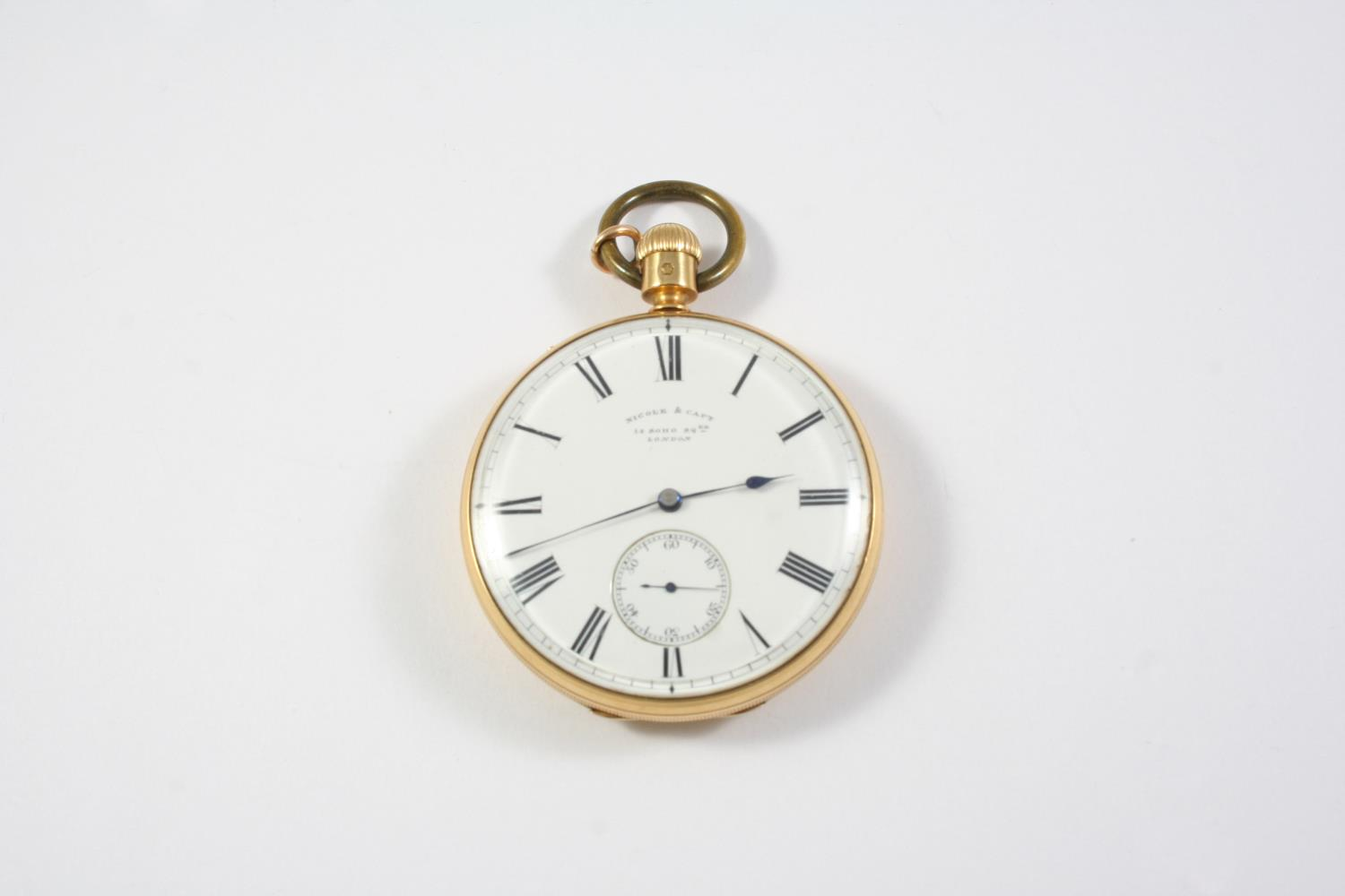 AN EARLY KEYLESS 18CT GOLD OPEN FACED POCKET WATCH BY NICOLE & CAPT, 14 SOHO SQ., LONDON the