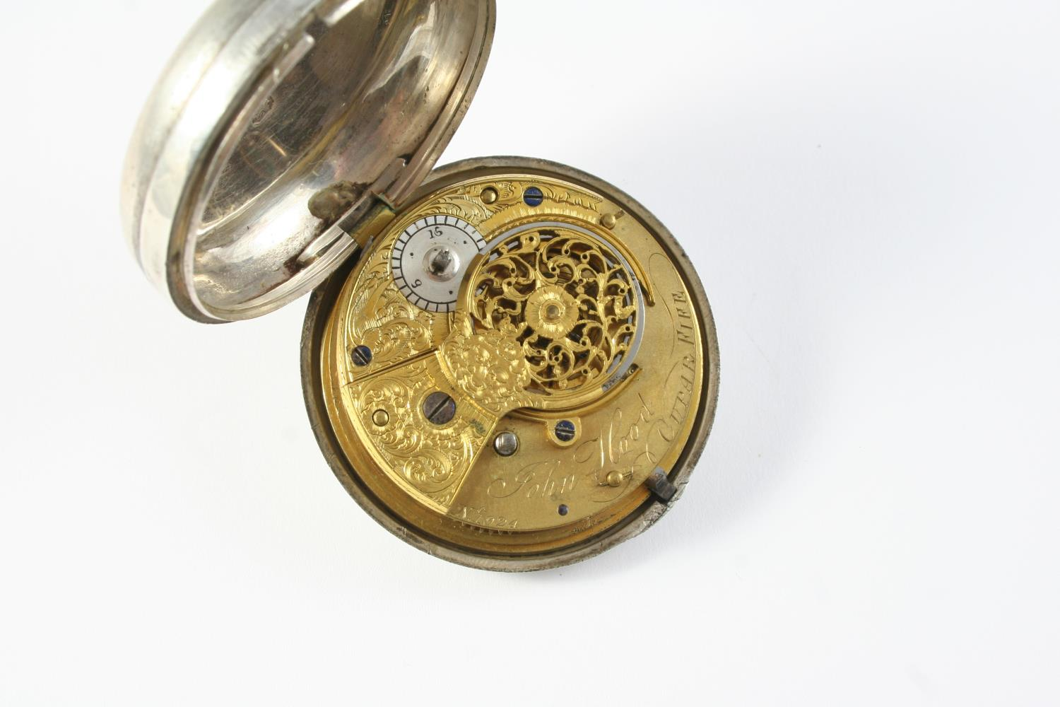 A SILVER PAIR CASED VERGE FUSEE POCKET WATCH the white enamel dial with Roman numerals, the movement - Image 2 of 4