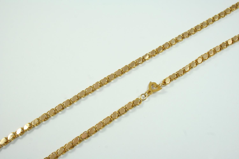 A LONG GOLD FANCY LINK CHAIN 194cm long, 70 grams