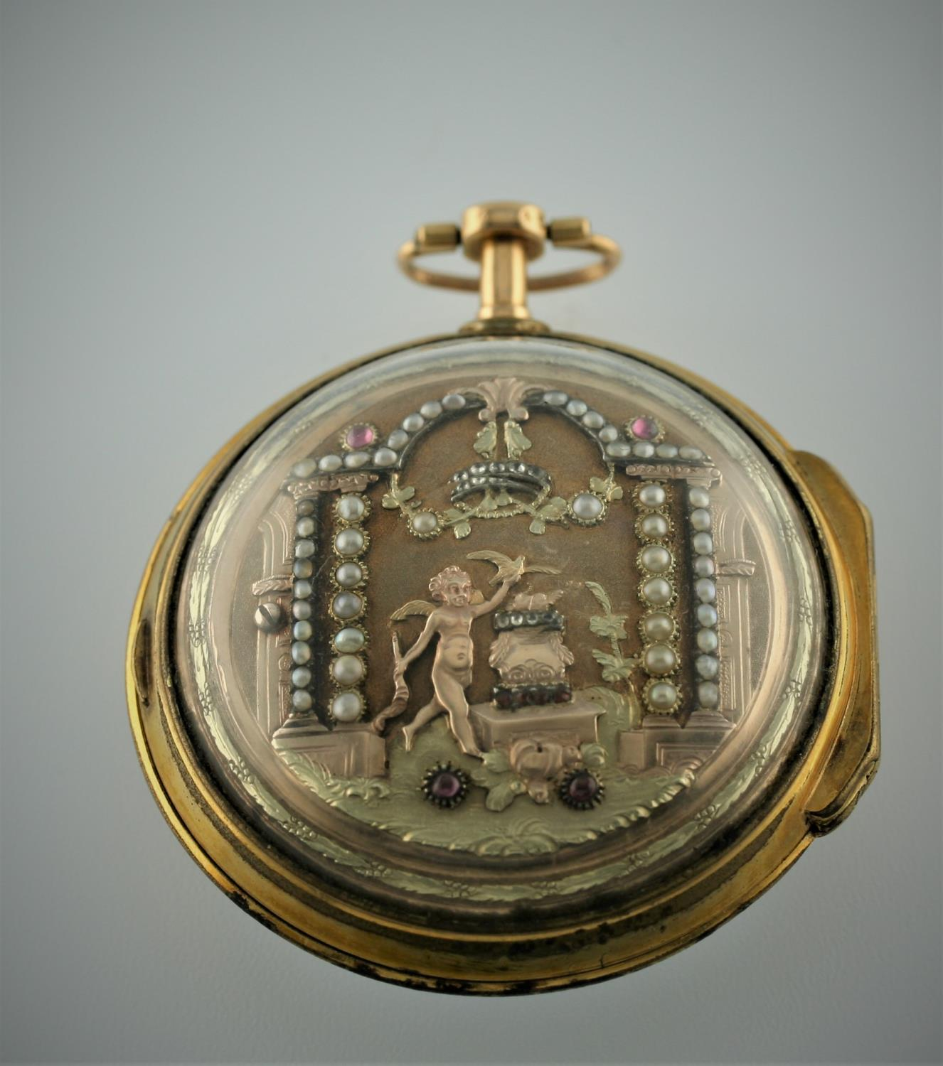 A SWISS LATE 18TH CENTURY PAIR CASED POCKET WATCH BY JEAN NICOLAS MENU the signed white enamel - Image 3 of 10
