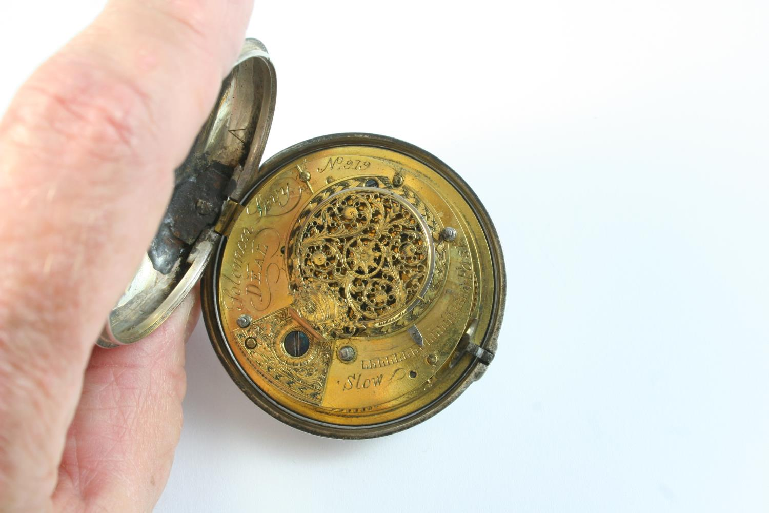 A SILVER PAIR CASED VERGE POCKET WATCH the white enamel dial with Roman numerals, the movement - Image 2 of 6