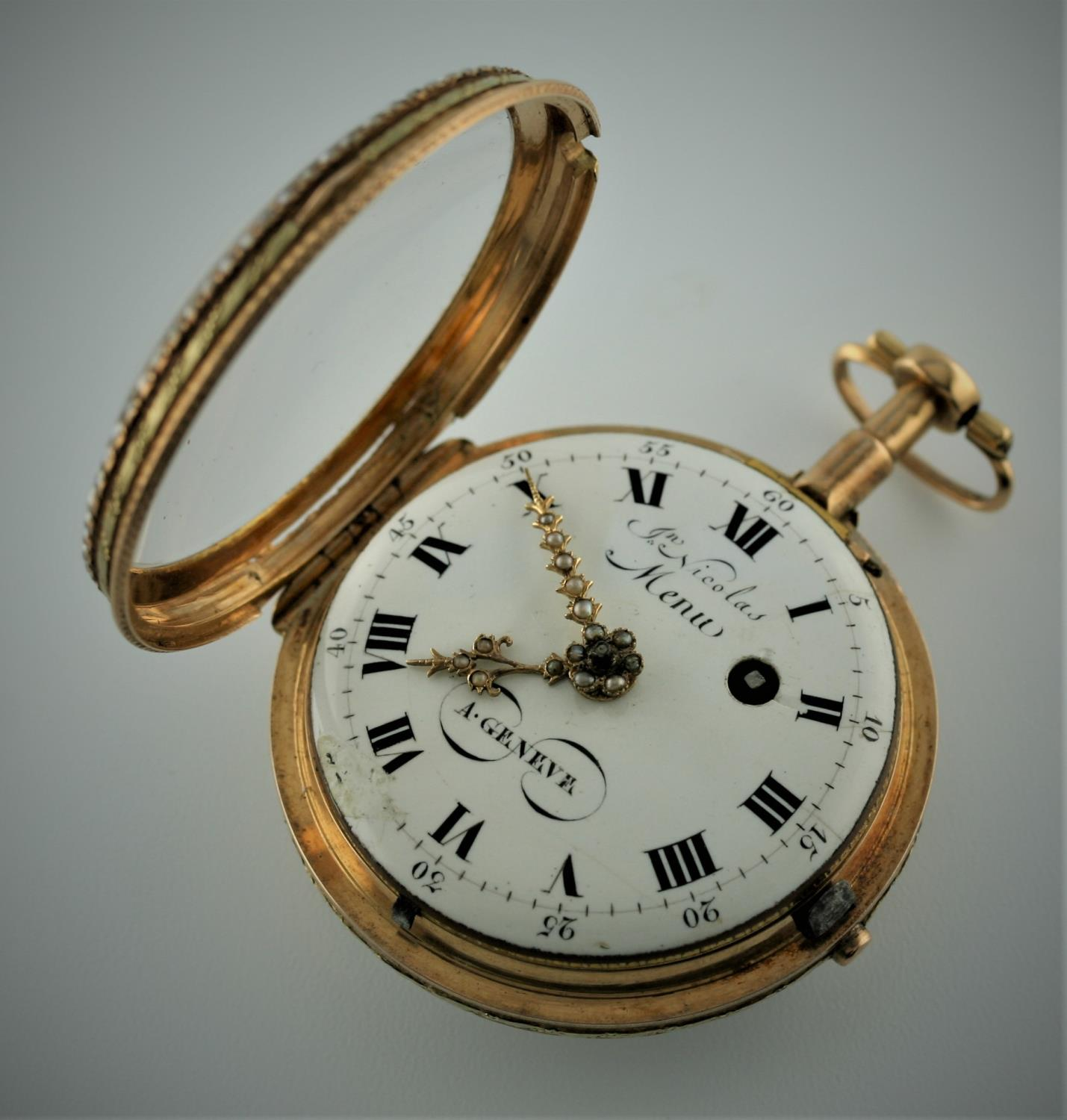A SWISS LATE 18TH CENTURY PAIR CASED POCKET WATCH BY JEAN NICOLAS MENU the signed white enamel - Image 4 of 10