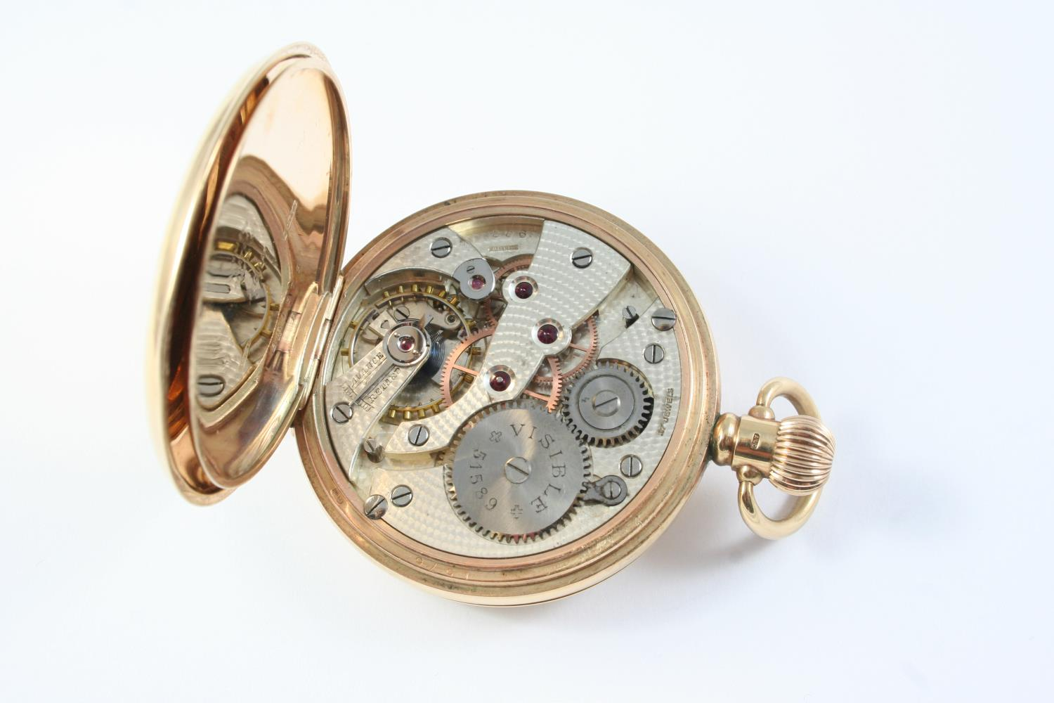 A 9CT GOLD HALF HUNTING CASED POCKET WATCH the white enamel dial with Roman numerals and - Image 2 of 5