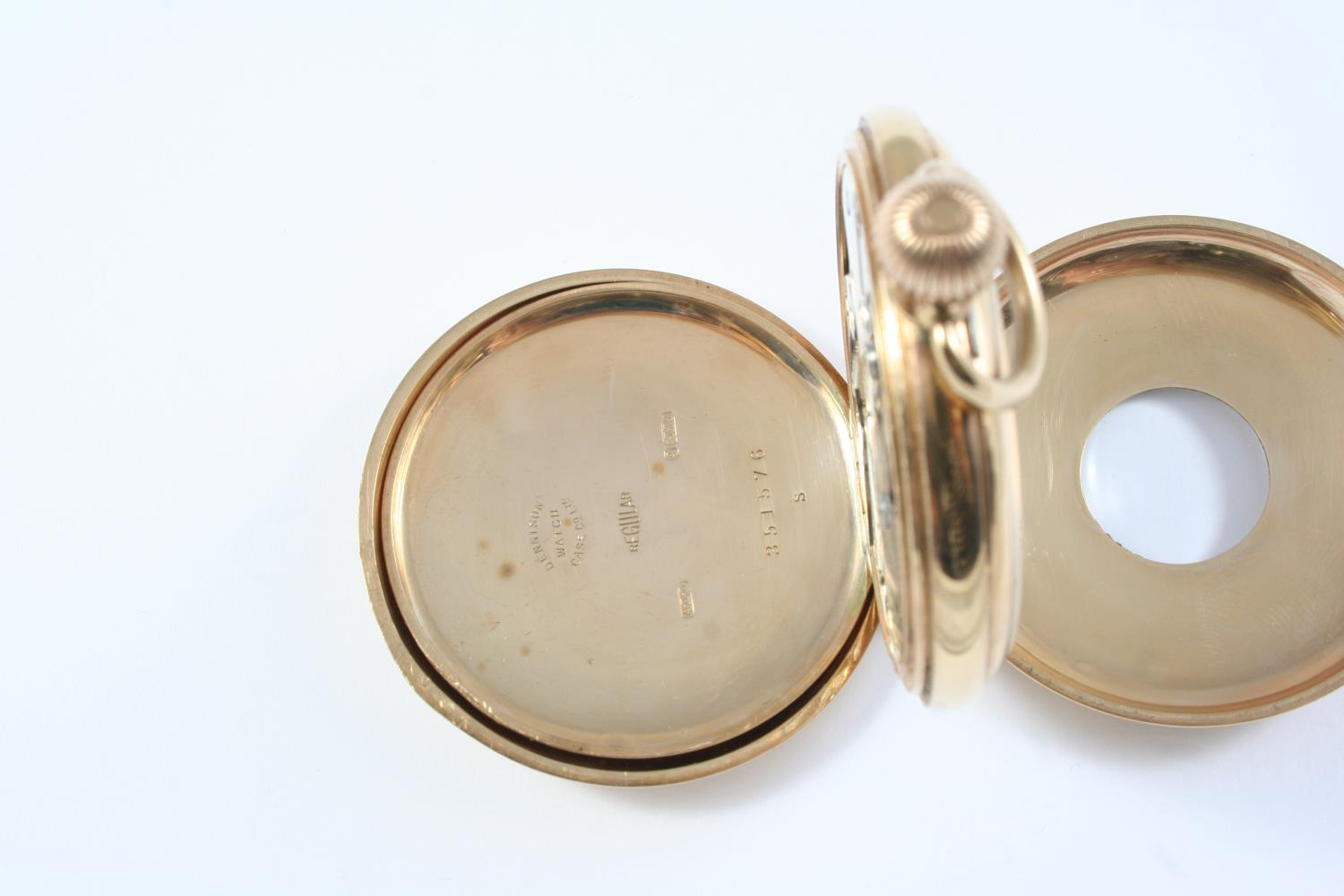A 9CT GOLD HALF HUNTING CASED POCKET WATCH the white enamel dial with Roman numerals and - Image 4 of 5